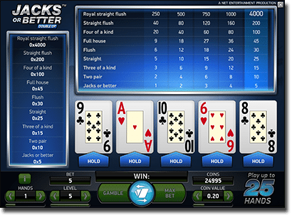 Play Jacks or Better video poker for real money online