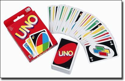 Uno card game for travelling