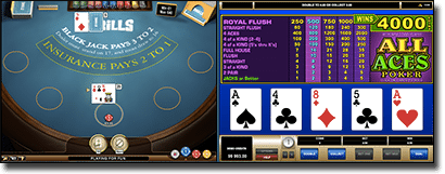 Play two card games at once at Thrills Casino