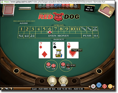 Red Dog progressive card games at G'Day Casino